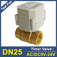 Electric Timer Open/Closed Valves AC/DC9V 24V BSP/NPT 1'' DN25 For Garden Irrigation Air Compressor Drain Water