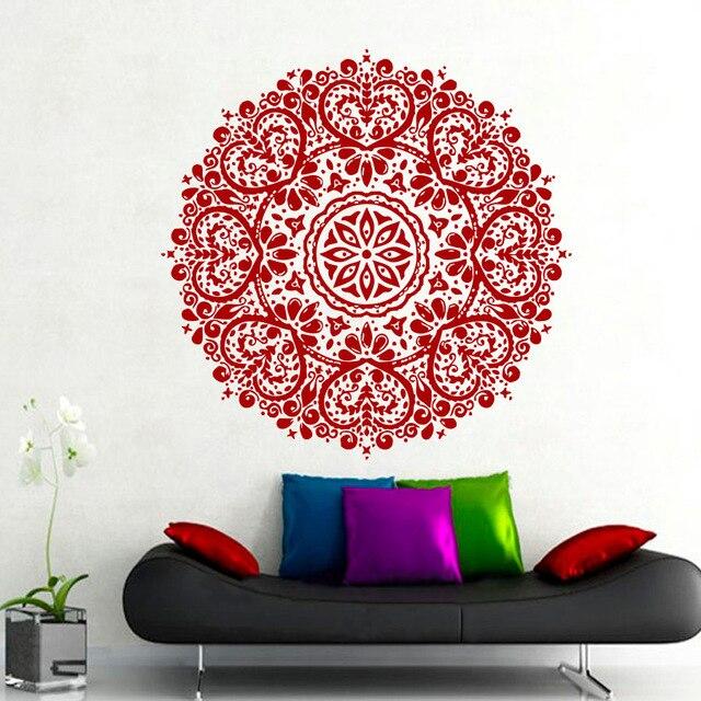 Us 1223 32 Offwall Decals Mandala Indian Pattern Yoga Oum Om Sign Decal Vinyl Sticker Home Gym Office Decor Art Murals Bedroom Studio Window In