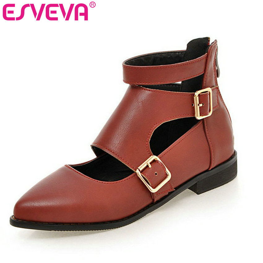 ESVEVA British Style Zipper Buckle Pointed Toe Women Pumps Solid Square Heels Autumn/Spring Miss Party Shoes Size 34-43 Black xexy small square toe medium heels natural leather women shoe spring autumn buckle strap dance party sweet platform women pumps