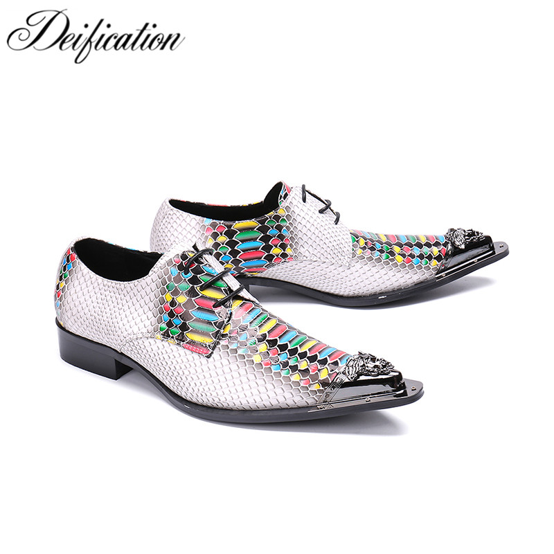 Deification Snakeskin Oxford Mixed Colors Printed Mens Lace Up Formal Dress Shoes Metal Toe Man Office Party Wedding