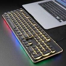 Игровая клавиатура 104 Keycaps RGB с подсветкой Водонепроницаемая Бесшумная клавиатура компьютерная геймерская USB Проводная для ноутбука