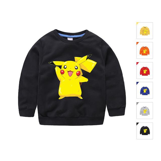 Da menina do menino blusas de algodão preto outono inverno marca designer miúdos dos desenhos animados pokemon camisa da roupa das crianças do bebê roupas pullover