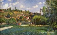 Famous Arts Reproduction A Cowherd on the Route de Chou, Pontoise Camille Pissarro oil Paintings High quality Hand painted