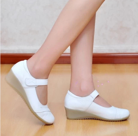 2017 women genuine leather white nurse shoes single cow muscle women's wedges shoes