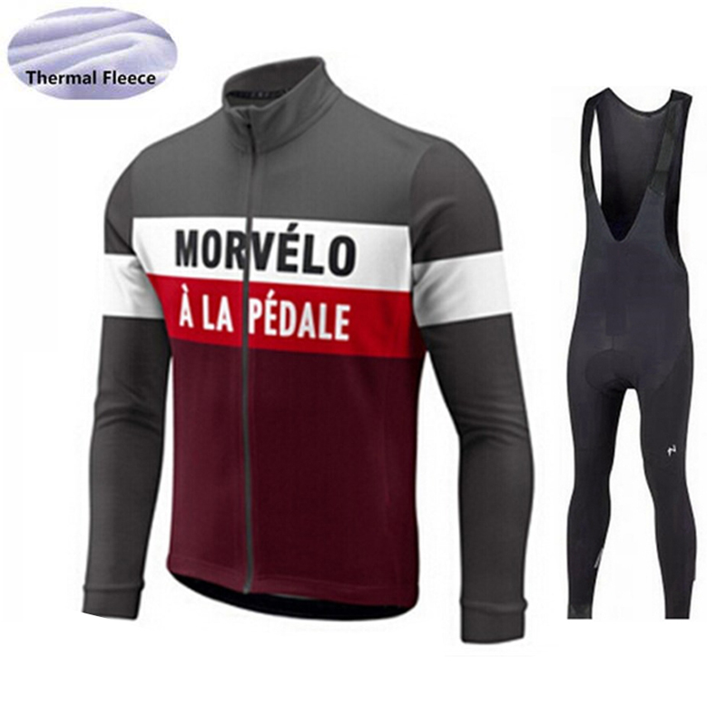 Morvelo 2017 Winter Cycling Jersey Thermal Fleece Cycling Set Cycling Clothing Road Bike Jerseys Suit Bicycle Clothes Bib Pants black thermal fleece cycling clothing winter fleece long adequate quality cycling jersey bicycle clothing cc5081