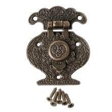 OOTDTY китайский старый стиль Замок Винтаж латунь замок Свадебная шкатулка для украшений поймать с ключом