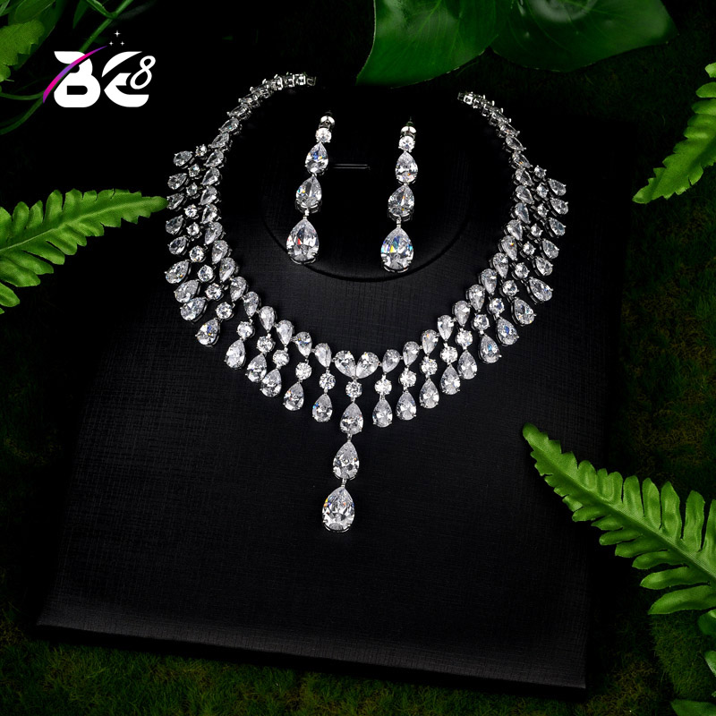 Be 8 Brilliant Shinny Water Drop Jewelry Sets for Women Bride Necklace Set Wedding Jewelry Dress Accessories Par Show S083Be 8 Brilliant Shinny Water Drop Jewelry Sets for Women Bride Necklace Set Wedding Jewelry Dress Accessories Par Show S083