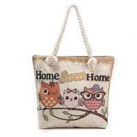 Womens Owl Printing Large Canvas Totes Bag Ladies Designer Shopping Bags Casual Single Shoulder Bag With