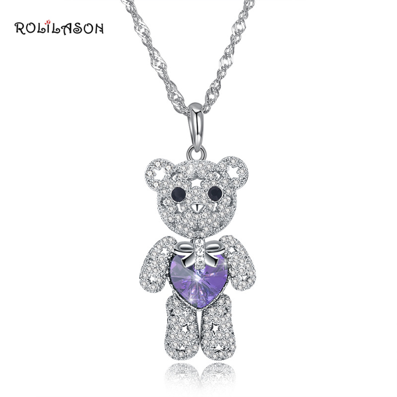 ROLILASON 925 sterling silver cute bear heart-shaped necklace pendant pink zircon jewelry female models SP73 cute bear shaped stainless steel pendant titanium