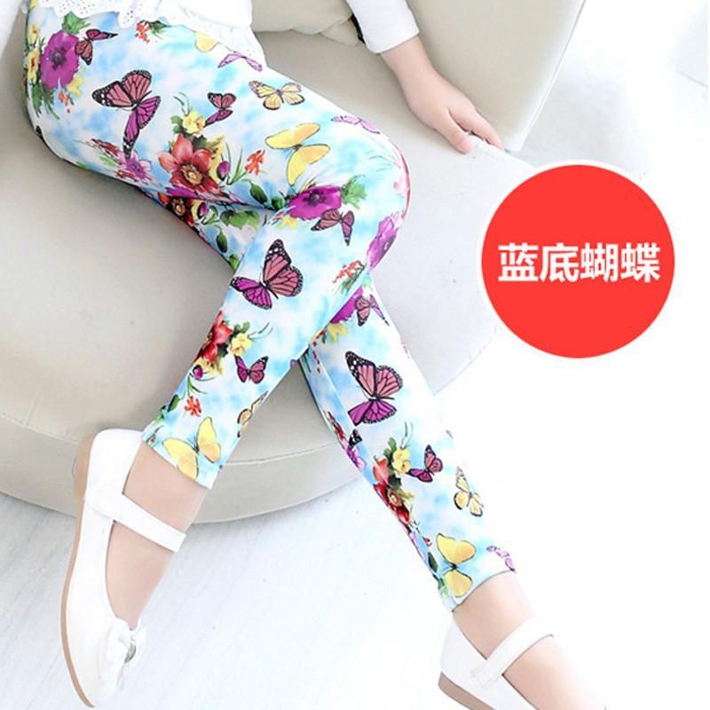 New Style Spring Autumn Children Leggings Flower Butterfly girls pants kids legging 2