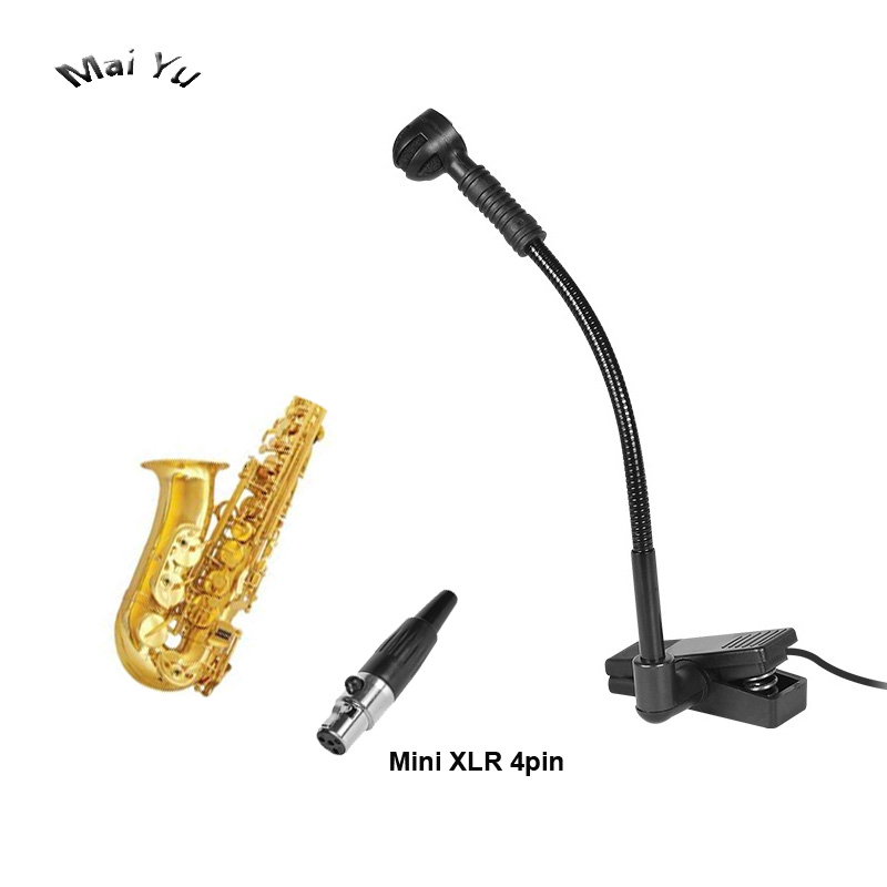 Professional Instrument Condenser Saxophone French Horn Microphone Music Microfone for Shure Wireless System XLR mini 4Pin