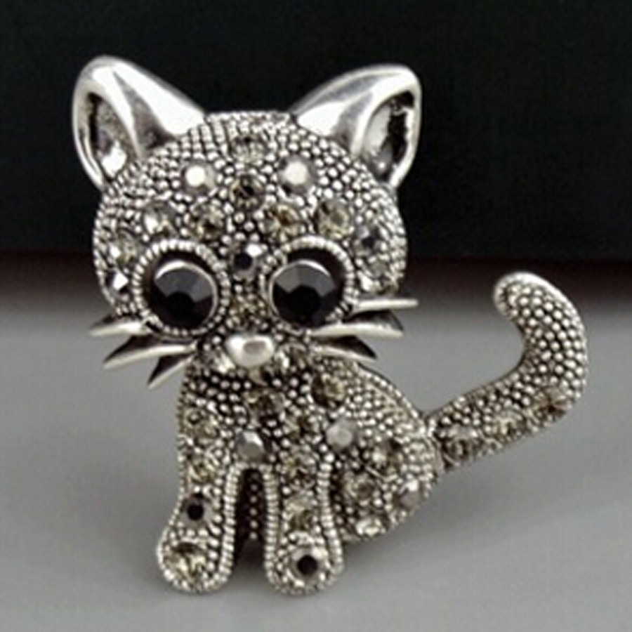 Zinc Alloy Crystal Cute Cat Style Brooch Pin Charm Women Corsages Clothing Accessories Fashion Hats Scarf Suit Brooch XZ043