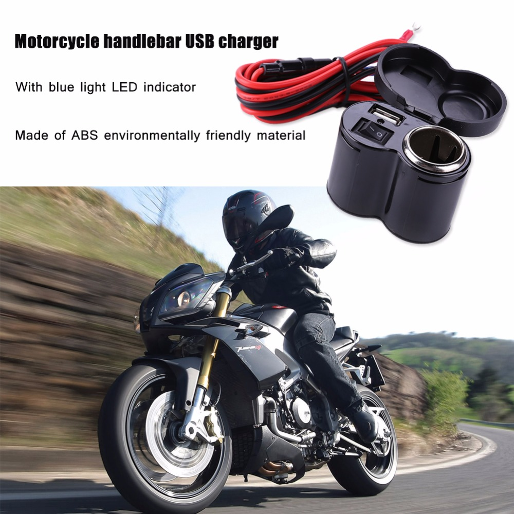 Universal 12-<font><b>24V</b></font> 5V/<font><b>5A</b></font> Waterproof Motorcycle USB <font><b>Charger</b></font> <font><b>Scooter</b></font> Handlebar Charging Adapter Motorbike w/ Cigarette Light Socket image