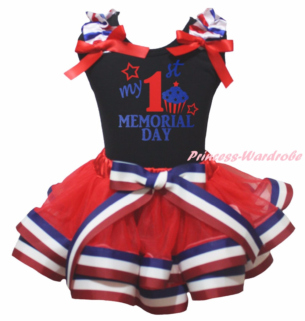 Black Cotton Shirt White Blue Red Striped Petal Skirt Girl Outfit Set Dress My 1st-6th Memorial Day Costume Nb-8y LKPO0036 цены онлайн