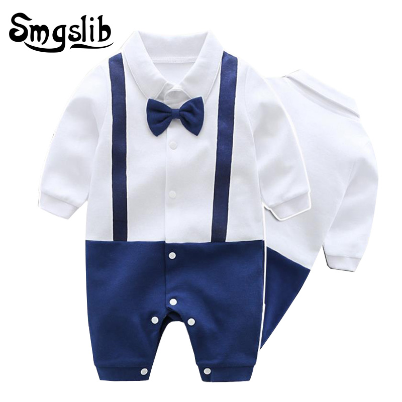 0-12M New born baby clothes Handsome Gentleman Clothing Set Infant Bow Tie Costume Cotton Baby Jumpsuit Baby Boy girl Clothes baby boy clothes set 2018 spring new gentleman plaid clothing suit for newborn baby bow tie shirt suspender trousers 5 years