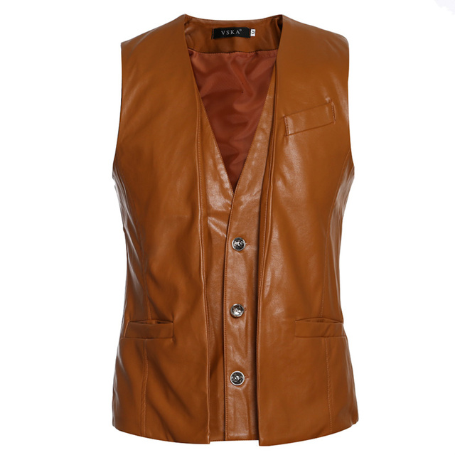 6 styles Men's PU Vests 2016 New Arrival Brand Men Sleeveless Jacket Male Casual PU Leather Vest Slim Men's Vest Waistcoat MQ489