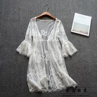 Women Summer Lace Dress Ladies Casual Sexy Elegant Party Beach Holiday Lace Hollow Out Transparent Black White Dresses 439