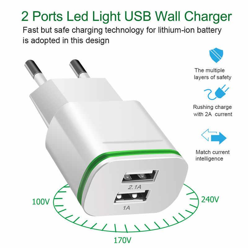5 V/2.1A الاتحاد الأوروبي/الولايات المتحدة التوصيل مصباح ليد 2 منافذ USB محول الهاتف المحمول سريع جدار شاحن جهاز المصغّر USB كابل شحن ل جهاز ذكي