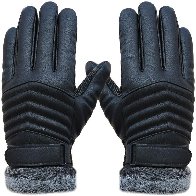 1Pair Men Synthenic PU Golves Winter Warm Five Finger Wrist Gloves Cut Wool Thicken Touches Screen Fur Mittens  TC21