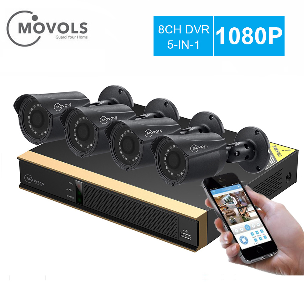 Movols 8CH CCTV System 4PCS 2000TVL Outdoor Weatherproof Security Camera 8CH 1080P XVR D Night DIY