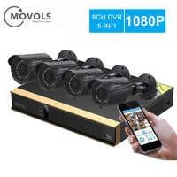 Movols 8CH CCTV System 4PCS 2000TVL Outdoor Weatherproof Security Camera 8CH 1080P XVR D/Night DIY Kit Video Surveillance System