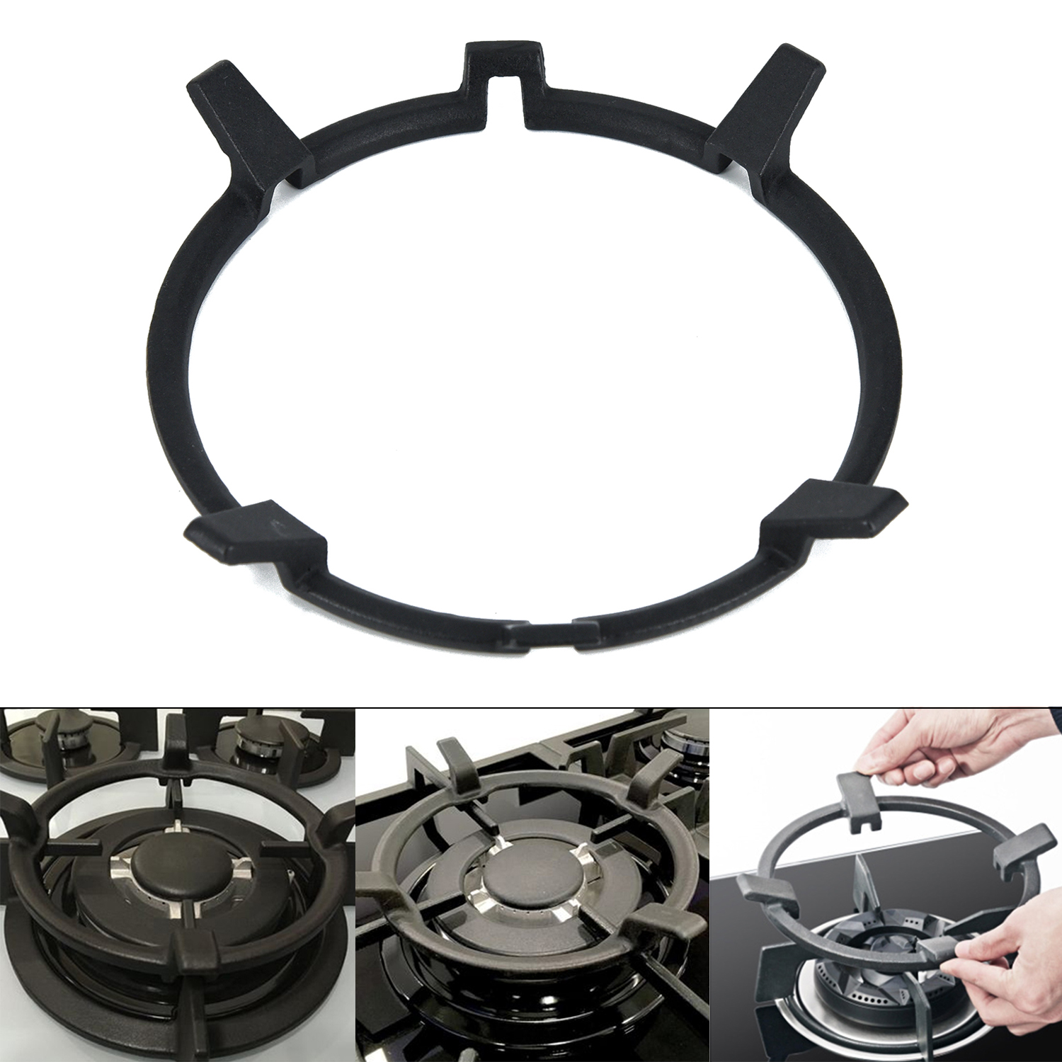 Universal Compact Cast Iron Wok Pan Support Rack Stand For Burners Gas Hobs Cookers Black Kitchecn Wok Rack Fit Most Hobs hots