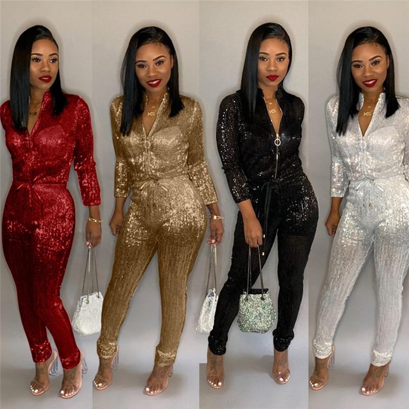 Plus Size Glitter Jumpsuit Women Long Sleeve Zipper Drawstring High Waist Bodycon Long Pants Romper Sparkly Club Party Jumpsuits