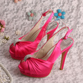 Wedopus Elegant Platform Slingback Pumps Hot Pink Bride Wedding Sandals High Heels Dropshipping