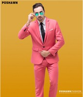 2019 New Arrival High Quality Brush Pink Groom Suits with One Button Back with Vent Wedding Suits with Jacket and Pants