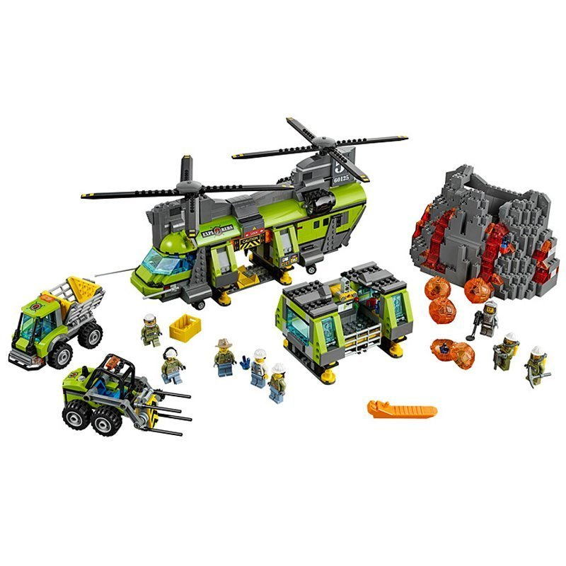 Lepine 02087 1430Pcs Volcano Heavy-Lift Helicopter Set Model Building Blocks Toy For Kid Compatible With Legoe 60125 Educational lepine model