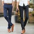 2016 de Primavera y Verano Pantalones de Tela Escocesa de la Vendimia Hombres de Moda Casual Delgado Coreano de Algodón Para Hombre de Negocios Pantalones Pantalon Homme Recta