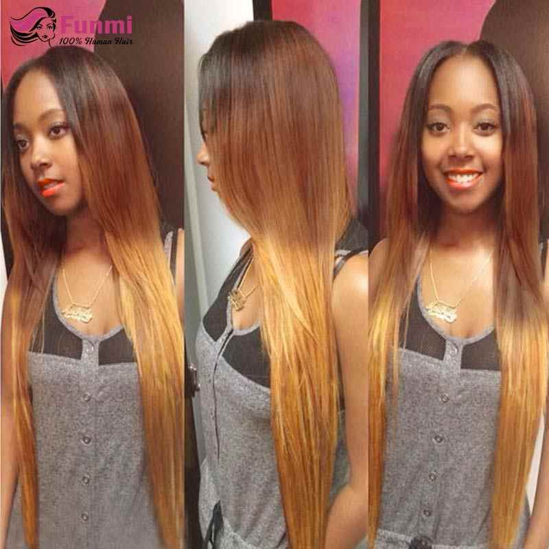 Ombre Straight Hair Bundles With Closure Virgin Human Hair Bundles with Closure Funmi Brazilian Ombre Bundles With Closure