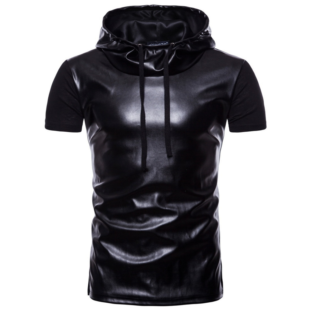 Summer Top Short-Sleeves Casual t-Shirt Compression-Patchwork Cotton Hat FDWERYNH Men
