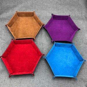 Image 2 - Tablero de polígono de cuero PU Placa de dados de almacenamiento de placa de Bar club nocturno juego de mesa de regalo bandeja de almacenamiento