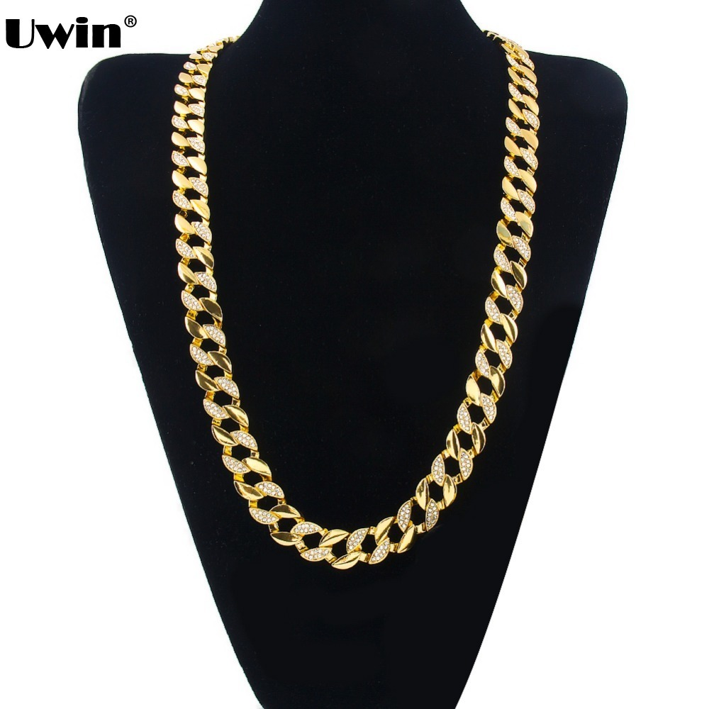 fashion iced out bling bling necklace high quality gold silver plated hip hop chain mens miami. Black Bedroom Furniture Sets. Home Design Ideas