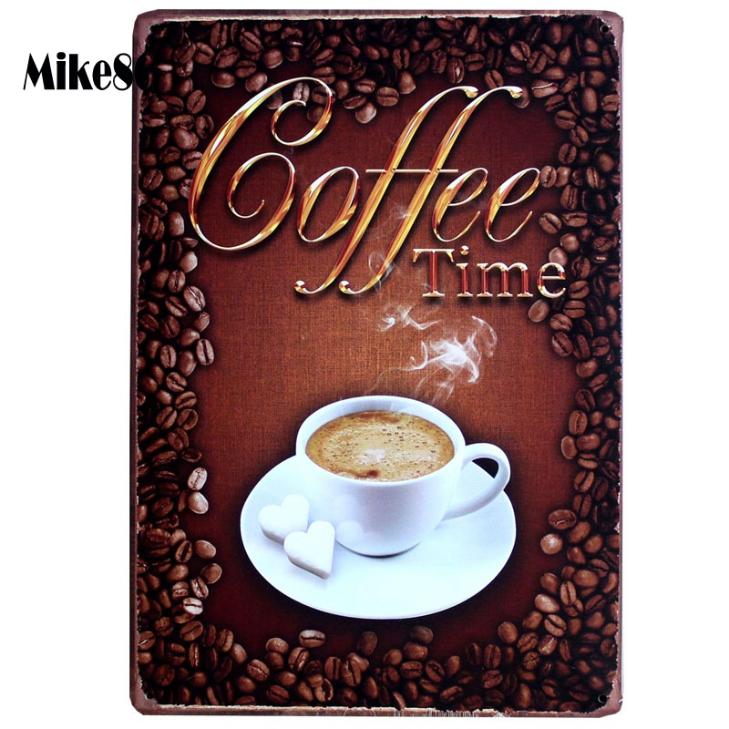 [ Mike86 ] Coffee Time Antique Metal Poster Art Wall Painting Tin Sign Retro Bar Home Party Decorative 20X30 CM AA-487