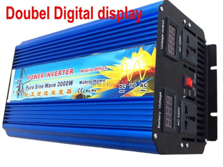 Onduleur solaire à onde sinusoïdale Pure 3000 W 12 V à 110 V 60Hz USA, prises universelles deux ventilateurs