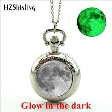 Новое поступление 2017 года полная луна карманные часы стимпанк лунное затмение светятся в темноте медальон карманные часы светящиеся украшения