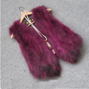 Жилет из натурального меха енота, женский жилет из лисьего меха, короткий дизайн, повседневное пальто из натурального меха, меховая верхняя одежда градиентного цвета - Цвет: 4
