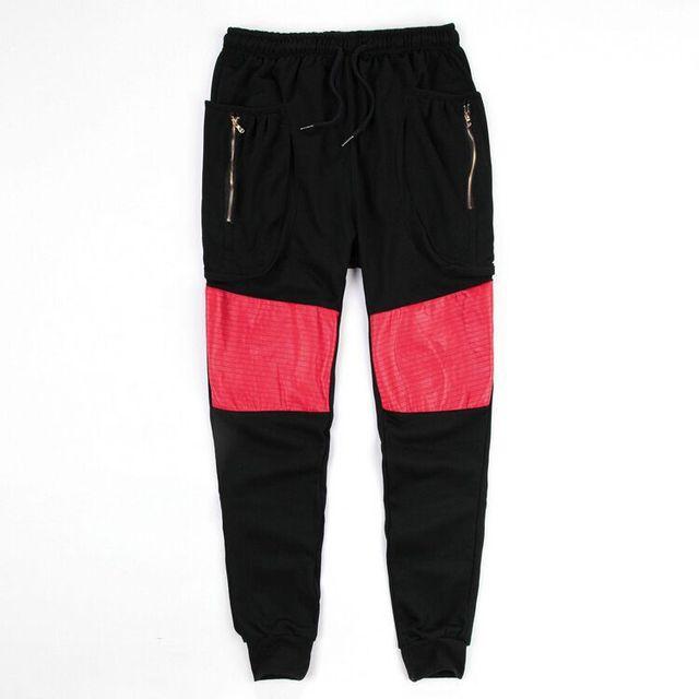 Moda 2016 de Los Hombres Del Basculador Pantalones Diseño de la Cremallera de Cuero Patchwork Hip Hop Streetwear Pantalones Haram Hombre Joggers Pantalones Del Ejército