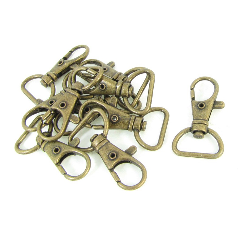 Bronze Tone Metal Handbag Strap Ornament Wearing Snap Hook 10 Pcs