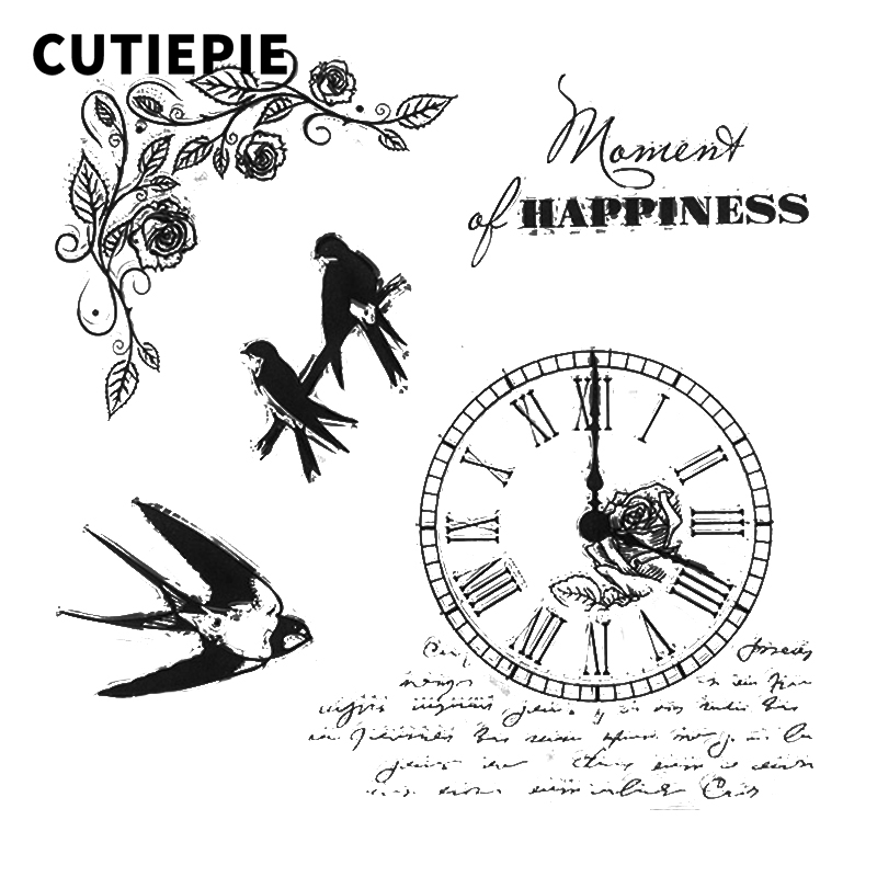 Clock Birds Transparent Clear Rubber Stamps Stencils for Scrapbooking Silicone Photo Album Embossing Card Maker Paper Decoration in Stamps from Home Garden