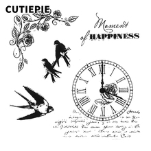 Clock Birds Transparent Clear Rubber Stamps Stencils for Scrapbooking Silicone Photo Album Embossing Card Maker Paper Decoration