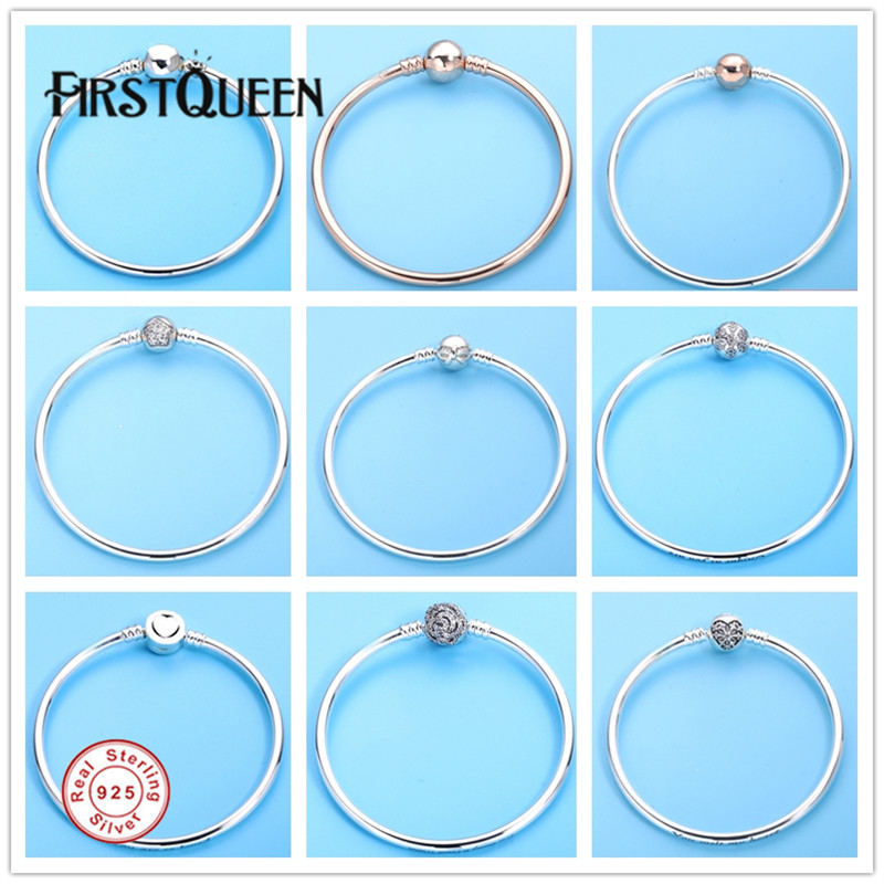 FirstQueen Silver 925 Jewelry Bracelets Bangles for Women Fit Silver Charm Bead Fine Jewelry Pulseiras para as mulheres