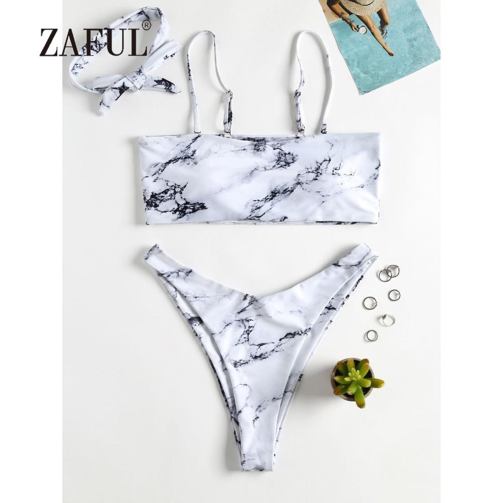 ZAFUL Marble Bikini Chocker Swimwear Women High Leg Swimsuit Marble Print Choker Bikini Sexy Spaghetti Straps Bandeau Biquni