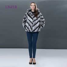 LTGFUR 2017 Fashion Rabbit Winter Coat Women's Fur Leather High Quality Genuine Leather Fur Short Jackets For Women(China)