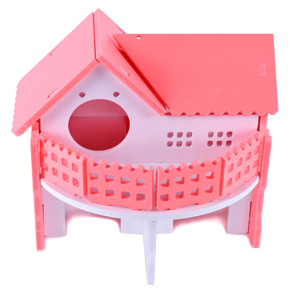 Wooden House Guinea Pig Mice Stairs Cockloft Small Pet Playing Watching Stage Wooden Cages Hamster  (14)