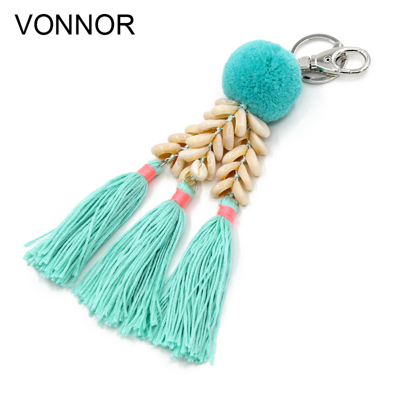 VONNOR Fashion Handmade Keychain Shell Tassel Pendant Pompom Key Chains Bohemian Accessories For Women Bags Colorful Trinket