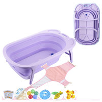 Foldable Hanging Baby Bath Tub for Newborn Travel Portable Baby Bathing Basin Tempreature Color Changing Child Bathtub Bucket