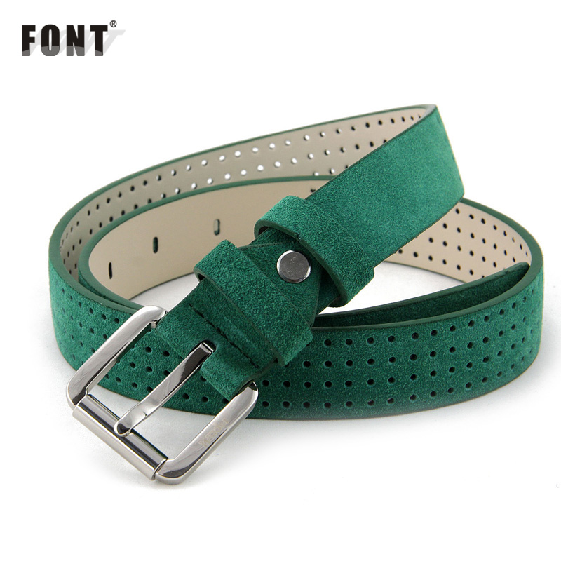Ms belt for women leather belt fine fashion han edition belt Joker decoration Ms contracted green belt